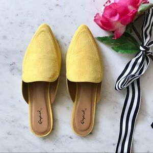 Shoes - Yellow Faux Suede Slip On Mule Flats